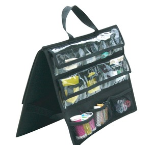 "Tutto CF07 Black Nylon Tool Bag Notions Storage 15x11x1"" Self Standing, Vinyl Side Pockets"