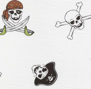 Fabric Finders 15 Yd Bolt 9.34 A Yd 1048 Pirates On White 100% Pima Cotton 60 inch Fabric