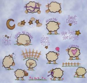 "Amazing Designs Embroidery Sensational Series Plush Pals Lambs Collection 1 Card, for Up to 4X4"" Hoops"