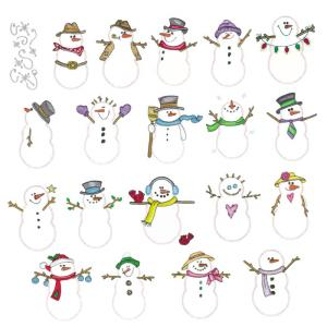 Amazing Designs ADSS-PP2 Sensational Series Plush Pals Snowmen Collection I Embroidery Card