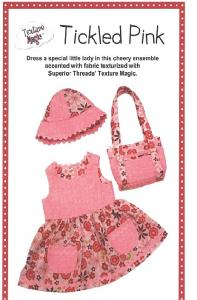 Texture Magic PBA120 Tickled Pink Dress, Sunbonnet and Purse Size 1 And 2
