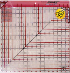 "Sullivans 38188 Cutting Edge 16.5"" x 16.5"" Square Gridded Ruler Sharpener, Diamond Carbide edge, keeps your rotary cutter blade sharpened as you work"