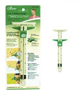 Clover CL9506 5-In-1 Sliding Gauge by Nancy Zeiman, Use as a Hem Gauge, Circle Compass and T-Gauge