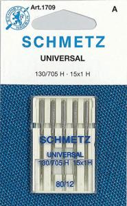29339: Schmetz S1709 Universal Home Sewing Machine Needles 5-pk sz12/80