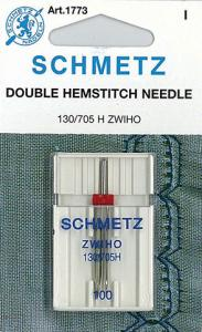 Schmetz S1773 Double Hemstitch Wing Needle 1pk, sz2.5/100 for Heirloom Sewing