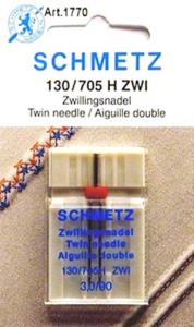 Schmetz S1770 130/705 H ZWI Universal Twin Double Needle 3.0mm Size 90/14, Perfect for sewing dual rows of stitches on Sewing Machines with 5mm Zigzag