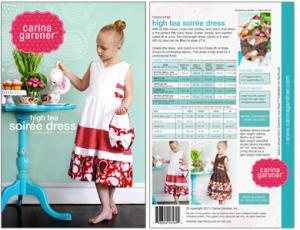 Carina Gardner CGP3 High Tea Soiree Dress Pattern sz 2T-8yrs