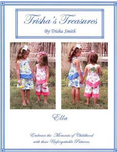 Trishas Treasures  tt-ella  Ella Banded Top With Skirt Or Capri Pattern Sizes 3 - 5 And 6 - 8