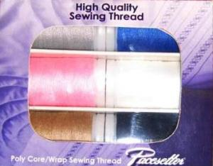 22861: Brother SASC706 Pacesetter Six XP Poly Core Poly Wrap High Quality Sewing Machine Thread Pack Kit, 6 Double Snap Cylinder Spools x 430 Yards Each