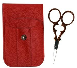 "Tooltron TT00805 3.5"" Victorian Embroidery Scissors, Red Leather Pouch"