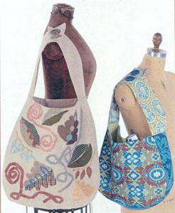 Indygo Junction 93-2441 Nouveau Hobo Bag Pattern, Roomy Lined Tote, 2 Sizes, Wide Straps Button Shoulder, Inside Pocket, Needle Punch Felting Applique