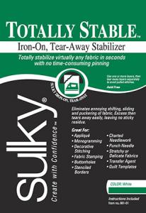 Sulky #661-25 Totally Stable Iron on Fusible TearAway Embroidery Stabilizer 20in x 25Yd Bolt, White or Black