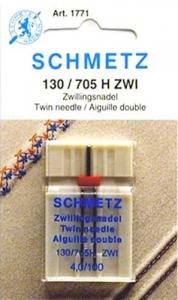 Schmetz S1771 Universal Twin/ Double Needle Gauge, 4.0mm Width, Size 16/100, 130/705H-ZWI for Top Stitching, Decorative Zigzag and PinTucking