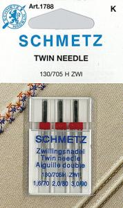 Schmetz S1788 Schmetz 3 Twin Double Needle Assortment Gauge 1.6mmW, Size 10/70, 2.0mm x 12/80 & 3.0mm x 14/90 Top Stitching, Decorative, Pintucking