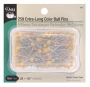 "Dritz #112 Extra Long Yellow Color Ball Head Pins Size 28, 1 3/4"" Long,  250 Count, Nickel Plated Steel Shank"