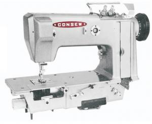 "Consew 3302 ~2""W Double Needle Feed, 4Thread Chainstitch Industrial Sewing Machine, KD* Power Stand, 10.5"" Arm, 8mm Foot Lift, ~3SPI, AutoOil, 4000SPM"
