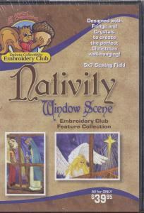 """Dakota Collectibles F70423 Nativity Window Scene Embroidery Designs CD for 5 X 7"""" Hoops"""