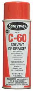 Sprayway C-60 Quick Drying Solvent Cleaner, Spray Degreaser, 16oz Cans, 12/Case
