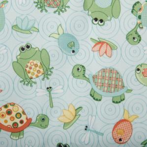"Babyville Boutique BV35009 Playful Pond Frog Turtle 64"" Fabric 8Yd Bolt 11.25 A Yd Polyurethane Laminated PUL"