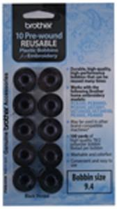 32259: Brother PWB250B Black 10 Prewound Class 15/A Bobbins 100Yds 60wt Poly Thread