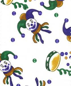Fabric Finder FF1094 Jester on White Print 15 Yd Bolt 9.34 A Yd 100% Pima Cotton Fabric
