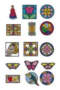 Down Home Dreams 165 Stained Glass 1 Embroidery Designs Floppy Disk