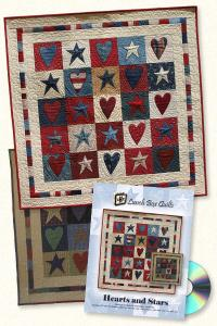 Lunch Box Quilts and Designs QP-HS-1 Hearts & Stars Applique Pattern with 2 Embroidery Designs