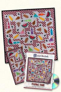Lunch Box Quilts and Designs QP-PT-1 Picnic Time Applique Embroidery Designs Pack on CD