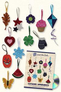 Lunch Box Quilts and Designs  DOM 5 Cutwork Ornaments Collection 1 Embroidery Design Pack on CD