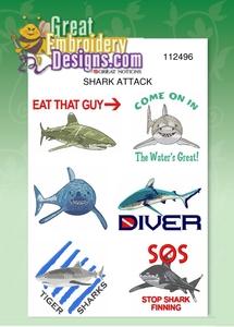 Great Notions Jumbo Shark Attack Designs  5X7 Hoop Multi-Formatted CD