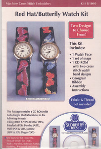"""Sudberry House K1040 Red Hat/Butterfly Design CD, Watch Face, 18"""" Grosgrain, Snaps"""