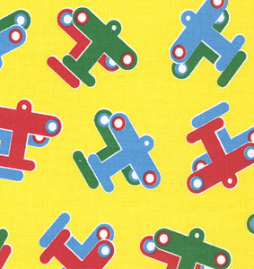 Fabric Finders #1252 Planes on Yellow Twill 15 Yd Bolt 9.34 A Yd 100% Cotton 60""