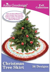 Anita Goodesign 170AGHD Christmas Tree Skirts  Multi-format Embroidery Design Pack on CD