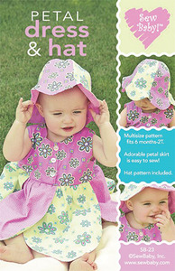 Sew Baby 93-4163 Petal Dress and Hat Pattern, Size 6Mo-2 yrs