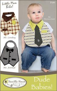 Vanilla House VHD189 Dude Babies Boys Bibs Sewing Pattern, Size 6-18Mo