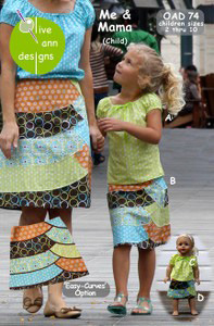 Olive Ann Designs OAD74 Me & Mama (Child) Skirt, Top & Matching Doll