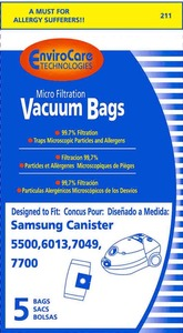 Envirocare VP50 VP-77 Micro Filtration Bags 5PK for Bissell 5528, 5500, 6013, 7049, 7700 Vacuum Cleaners