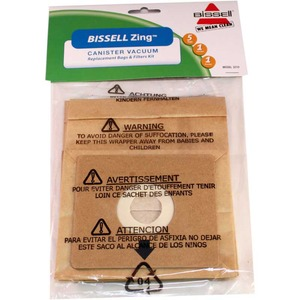 Bissell B-3210 Paper Bag, Bissell Zing  7100 Canister 5Bags/2Filt