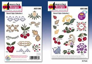 Amazing Designs / Great Notions 1366 Stencil Style Collection 1 Multi-Formatted CD