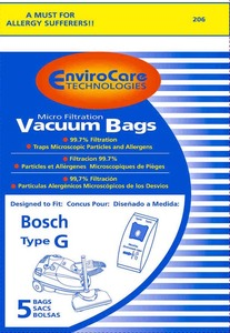 EnviroCare Bosch Bor-1437 Paper Bag, Bosch Type G  Canister Micro Env 5 Pk