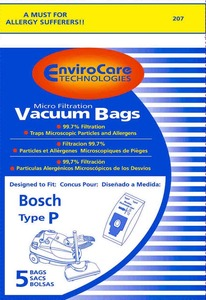 Bosch Bor-1446 Paper Bag, Bosch Type P  Canister Micro Env 5 Pk