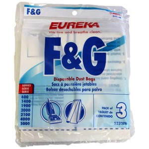 Eureka F & G, E-52320 3Pk Paper Filter Bags, Eur Style F&G Upright Esp Vacuum Cleaner Models  600, 1400, 1900, 2100 and 5000 Series