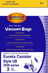 Eureka Replacement Er-1455 Paper Bag, Eur Style Ub  Ultra Boss Can Env 3Pk