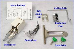 """Janome 62 200100007 6pc Quilting Attachment Kit Set: 1/4"""" Seam, Free Motion, Walking Foot, Open Toe, Hem Guide, Quilting Guide"""