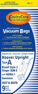 EnviroCare, 38-2440-04, HR-14313-9, 809-9 Hoover Replacement Paper Bag, Hoover Type A Microfilter Env 9Pk