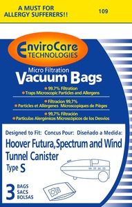 EnviroCare 109-9 Hoover Replacment Paper Bag, Hoover Type S Microfilter Env 9Pk