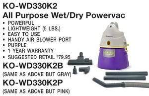 Koblenz Ko-Wd330K2B Vac, All Purpose Wet/Dry Canister Vacuum Gray