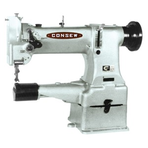 """Consew 227R-2 Cylinder Arm Walking Foot Needle Feed Industrial Sewing Machine, 10"""" Arm, 5/16"""" Foot Lift,  Safety Clutch Retime, 3300 SPM, Power Stand"""