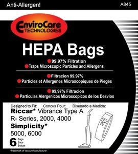 Riccar/Simplicity Replacment Rsr-1431H Paper Bag, 2000 4000 Sim 5000 6000 Hepa Type A 6Pk