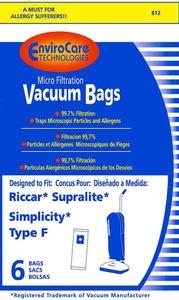 Riccar/Simplicity Replacment Rsr-1444 Paper Bag, Supralite Type F Upright Micron 6Pk